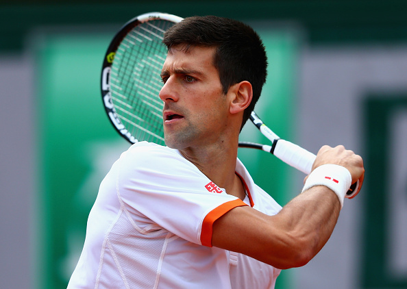 PARIS, FRANCE - MAY 30:  Novak Djokovic of Serbia in action in his Men's Singles match against Thanasi Kokkinakis of Australia on day seven of the 2015 French Open at Roland Garros on May 30, 2015 in Paris, France.  (Photo by Clive Mason/Getty Images)