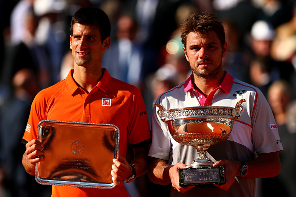 in the Men's Singles Final against on day fifteen of the 2015 French Open at Roland Garros on June 7, 2015 in Paris, France.