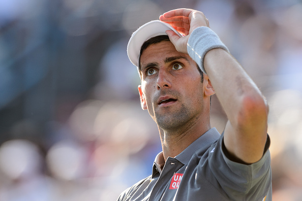 MONTREAL, ON - AUGUST 16:   Novak Djokovic of Serbia looks up in his match against Andy Murray of Great Britain during day seven of the Rogers Cup at Uniprix Stadium on August 16, 2015 in Montreal, Quebec, Canada.  (Photo by Minas Panagiotakis/Getty Images)